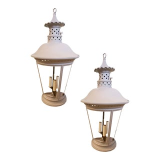 Vintage French Painted Lanterns - a Pair For Sale