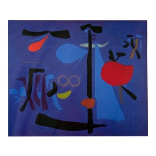 """Willi Baumeister Nocturno III 27.5"""" X 35.5"""" Poster 1997 Abstract Blue For Sale"""