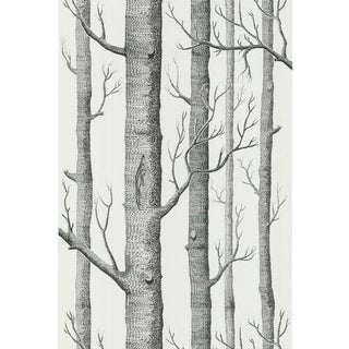 Cole & Son Woods Wallpaper Roll - Onyx/White For Sale