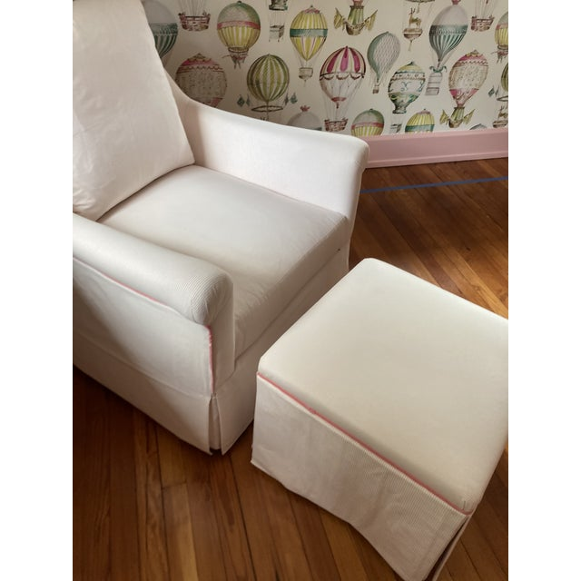 Custom made hardwood frame chair. Pink and white stripe with pink welting. Fabric is 100% cotton and welting is velvet...