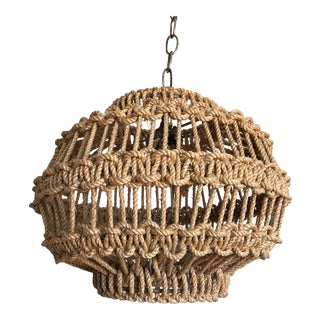 1960s Macrame Rope Pendant Light For Sale