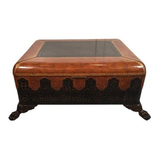 1980s Hollywood Regency Maitland - Smith Leather Coffee Table For Sale