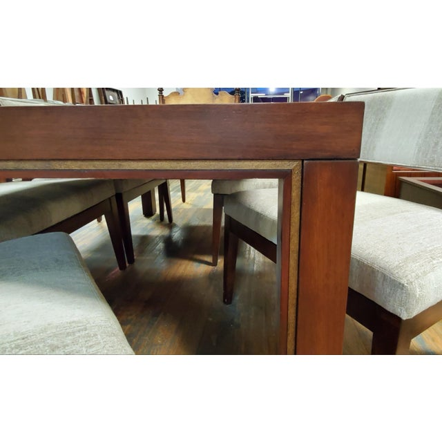 Henredon Henredon Furniture Venue Walnut Mid-Century Modern Dining Table & Chair Set For Sale - Image 4 of 12