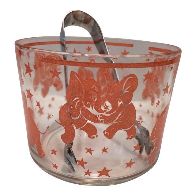 Vintage Hazel-Atlas Glass Pink Elephant Ice Bucket & Tongs - Image 1 of 11