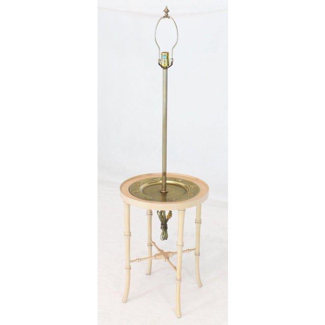 Traditional Fredrick Cooper Chicago Faux Bamboo White Wash Finish Brass Table Lamp For Sale - Image 3 of 12