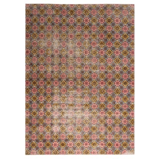 Vintage Mid Century Pink and Golden-Yellow Geometric-Floral Wool Rug-6′11″ × 9′4″ For Sale