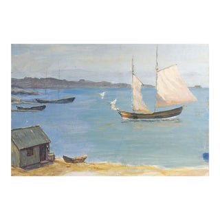 Harbor Scene & Sailboat Painting For Sale