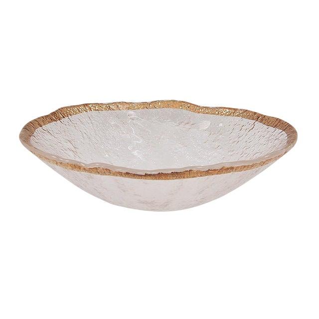 1950's Vintage 10k Gold Rim Italian Glacier Ice Art Glass Bowl For Sale