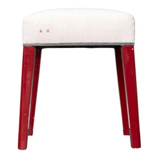 Vintage Red Lacquer and Antique Linen Stool For Sale
