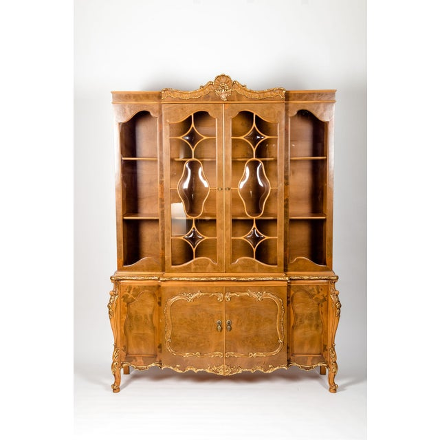 20th Century Two Parts Burlwood Hutch or China Cabinet For Sale - Image 12 of 13