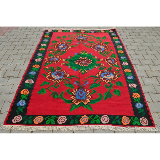 Turkish Hand-Woven Wool Kilim Rug - 5′3″ × 7′5″ - Image 2 of 8