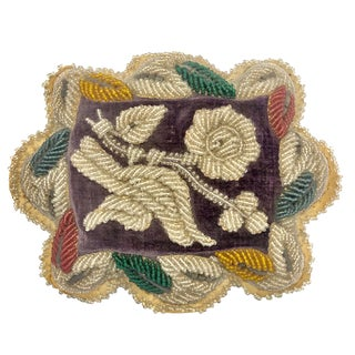 19th Century Victorian Beaded Small Accent Pillow For Sale