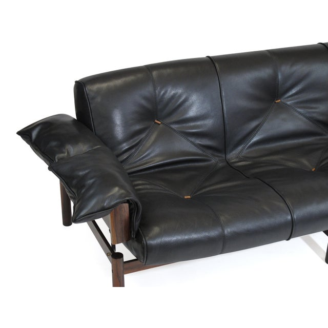 Percival Lafer Brazilian Modernist Rosewood Sofa and Chair in Black Leather For Sale - Image 9 of 13