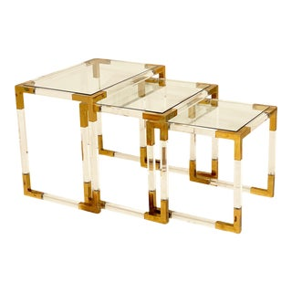Brass and Lucite Vintage Nesting Tables For Sale