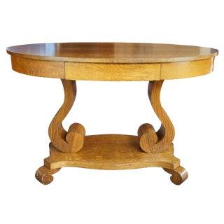 Arts & Crafts Mersman Bros Antique Quartersawn Oak Oval Writing Desk For Sale