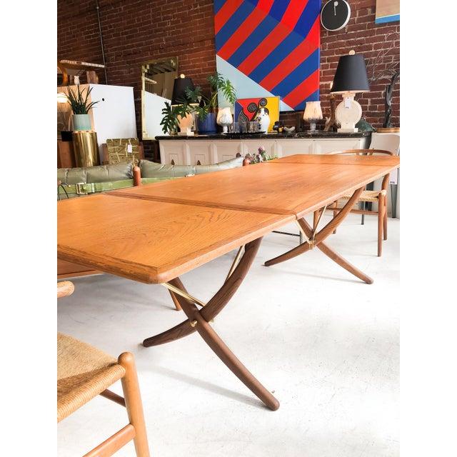 Metal Hans Wegner Andreas Tuck Oak Dining Table For Sale - Image 7 of 11