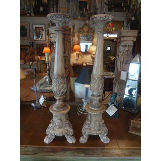 18th Century French Carved Wood Altar Stick, Pair