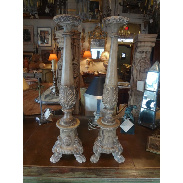 18th Century French Carved Wood Altar Stick, Pair - Image 10 of 10
