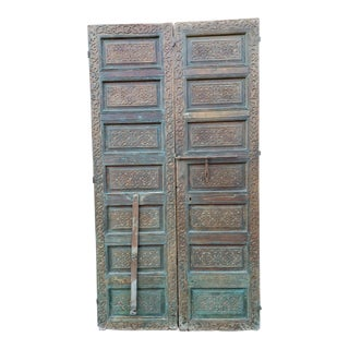1920s Vintage Old Brown Moroccan Wooden Doors For Sale