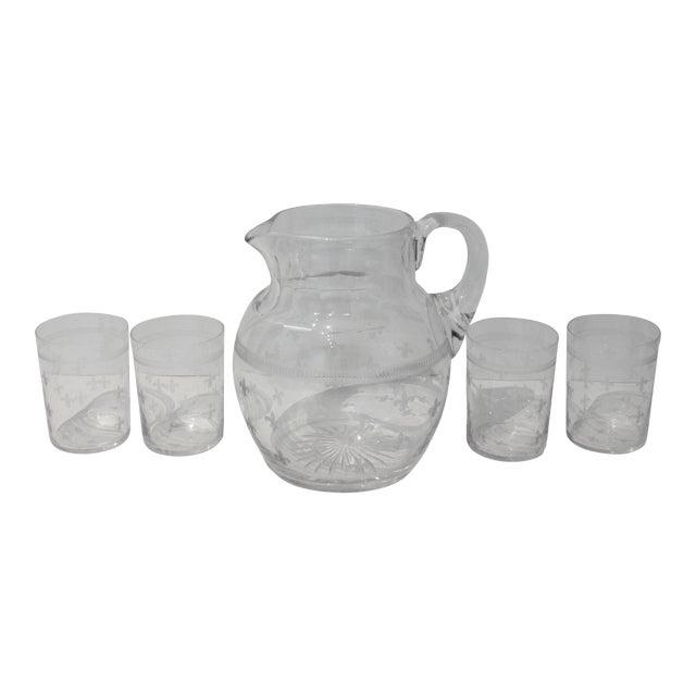 Vintage Fleur De Lis Glass Pitcher and 4 Tumblers Iced Tea Lemonade - a Set For Sale