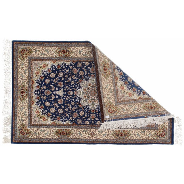 Original Persian Isfahan Handmade Hand-knotted in Isfahan Iran Silk foundation Koeker Wool and Silk Highlighted It is a...