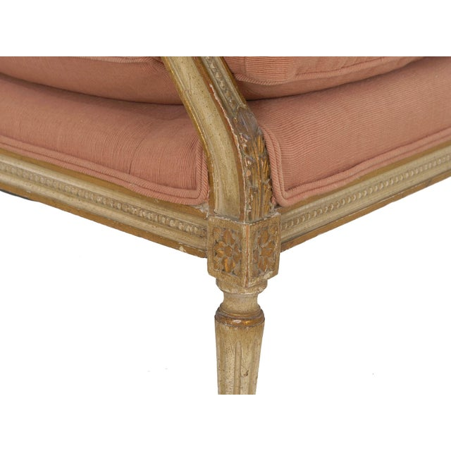 French Louis XVI Style Pink Upholstered Painted Arm Chair Circa 1940s For Sale - Image 10 of 13