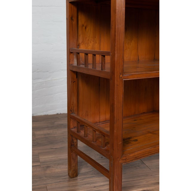 Asian Vintage Chinese Two-Part Elmwood Bookcase With Pillar-Shaped Strut Motifs For Sale - Image 3 of 13