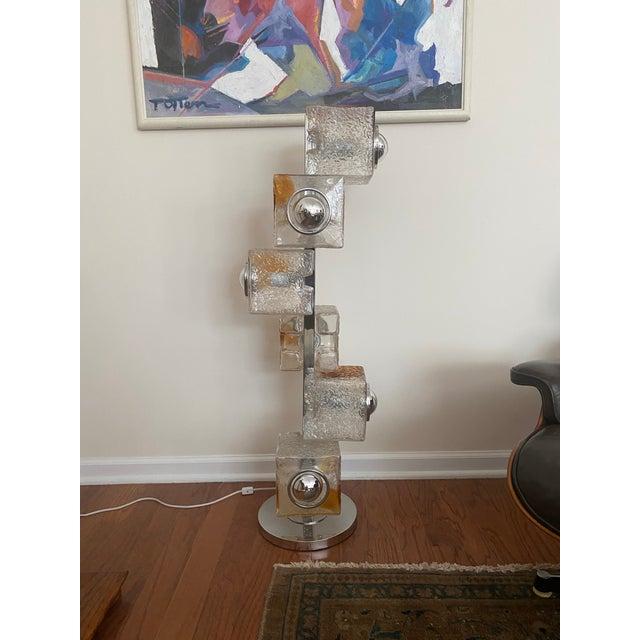 1970s Mazzega Murano Glass Chrome Floor Lamp For Sale - Image 5 of 5