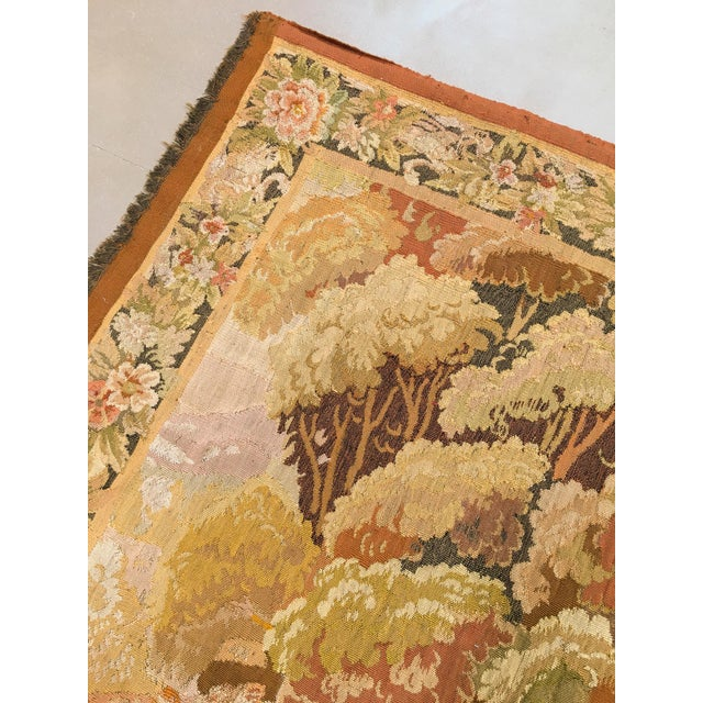 """Antique Old World Hunting Tapestry, Circa 1900, 4'10"""" X 6'5"""" For Sale - Image 4 of 11"""