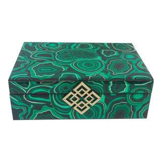 Hollywood Regency Faux Malachite Decorative Box