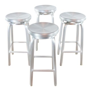 Set of 4 Spin Swivel Backless Bar Stools For Sale
