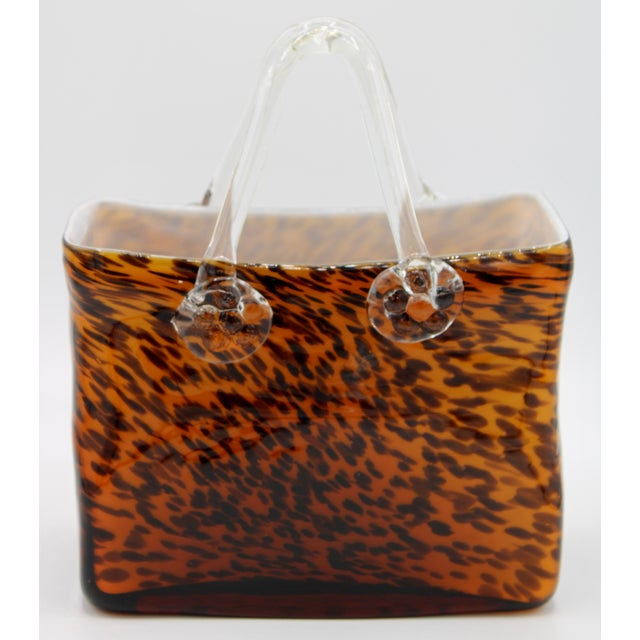 A lovely Mid Century Modern Italian Murano Style Glass Purse with a stylish tortoise shell pattern. This could be used as...