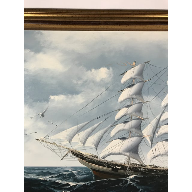 Americana Large Sailing Ship Painting For Sale - Image 3 of 13