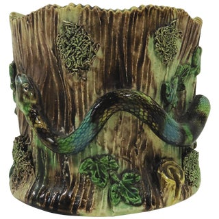 1880 Majolica Palissy Snake Vase