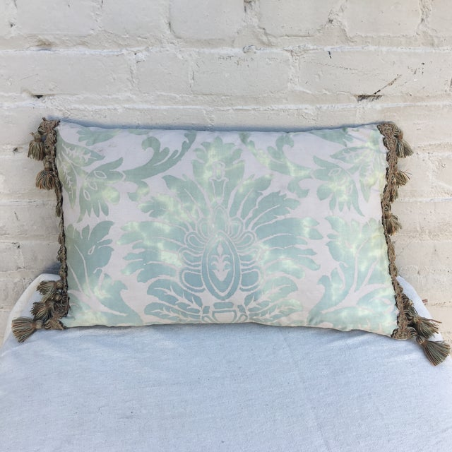 Custom pillow made from vintage Fortuny textile in soft sea foam green & cream coloration. Green linen back. Cotton tassel...