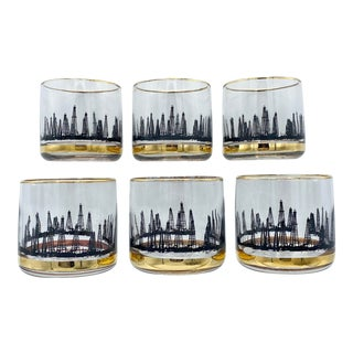 Mid-Century Black and 22k Gold Oil Rig Derrick Low Ball Cocktail Glasses For Sale