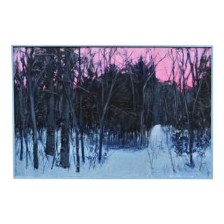 """Snowy Sunrise"" Contemporary Acrylic Painting by Stephen Remick, Framed For Sale"