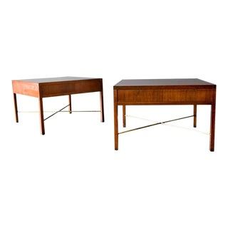 1960s Rosewood and Brass X Base Side Tables-a Pair For Sale