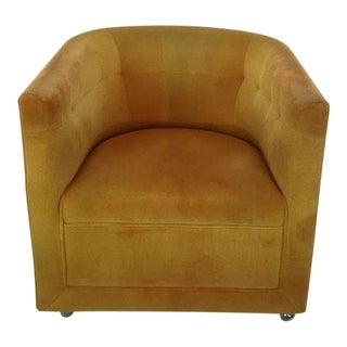 Milo Baughman Yellow Swivel Armchair For Sale