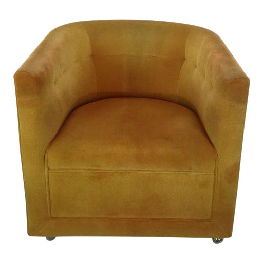 Milo Baughman Yellow Swivel Armchair | Chairish