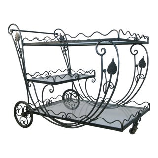 Vintage 1950's Wrought Iron Scroll Bar Cart For Sale
