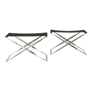 Pair Poul Kjaerholm Pk 91 Leather Folding Stools For Sale