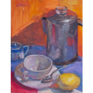 Orange Kitchen Still Life Oil Painting For Sale