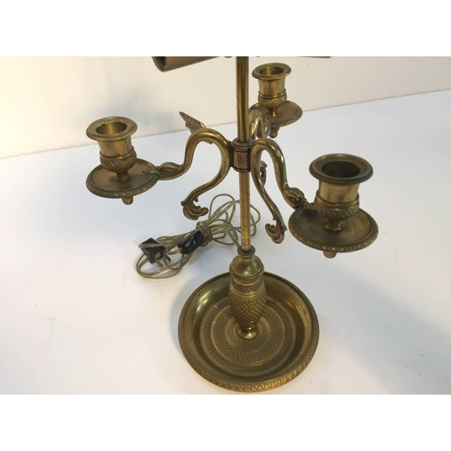Gold French Antique Brass Candelabra Converted Into a Table Lamp For Sale - Image 8 of 9