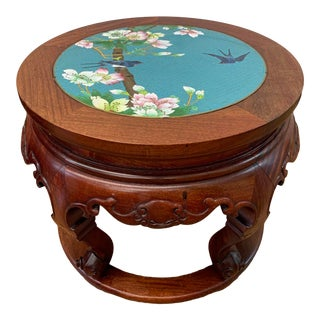 Rosewood & Cloisonne Accent Table For Sale