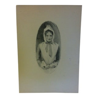 "Vintage Miles Standish Print ""Young Woman Sitting"" by Howard Christy 1903 For Sale"