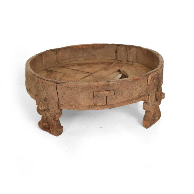 Brown Antique Wood Planter Base for Outdoor Patio, Rice Water Table For Sale - Image 8 of 8