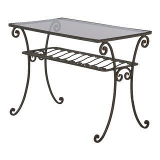 1940s French Wrought Iron Console Table With Glass Top For Sale