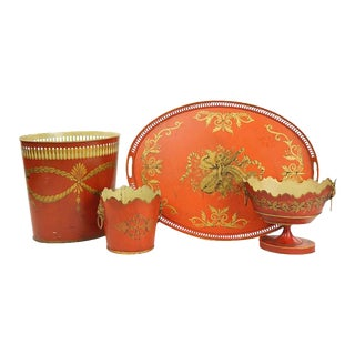 Collection of English Tole Items Including Waist Paper, Large Tray, Two Planters For Sale