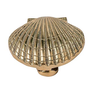 Brass Scallop Shell Door Knocker For Sale